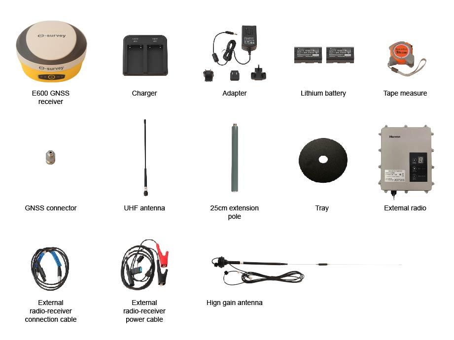 محتویات داخل جعبه جی پی اس E SURVEY مدل E600